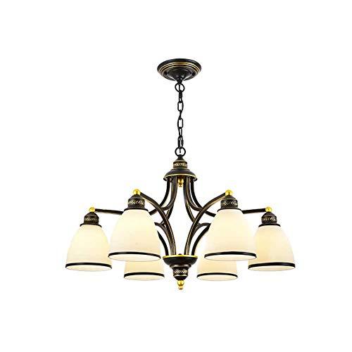 XH LIGHTING Anhänger Kronleuchter 5 Arme Metall Schmiedeeisen Land Retro Bronze Glas Klassische Küche, Wohnzimmer, Esszimmer E27,6 - Fünf Arm Schmiedeeisen Kronleuchter