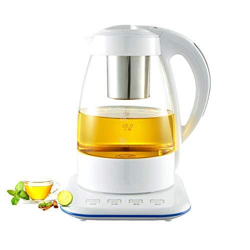 1,2 l Glas Wasserkocher, Glas Haushalt Teekocher Automatik Sheung Shui Tee Set, 3 Arten Intelligenter Modus Touch-Panel Kaffeetasse, 1800W (Schwarz-Weiss),White - Art-glas-panel