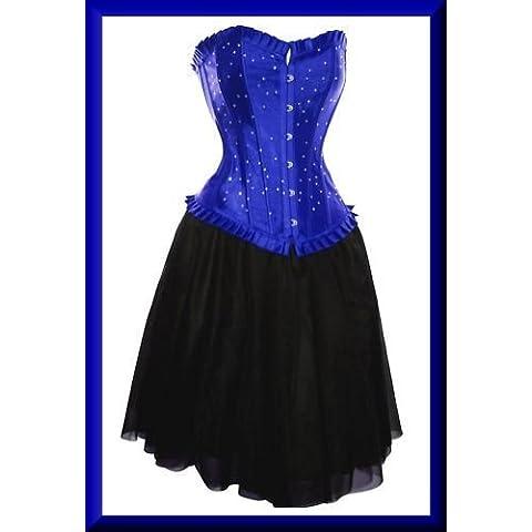 Burlesque Box Oro Blu Diamante corsetto e gonna Tutù Halloween, Plus dimensioni disponibili