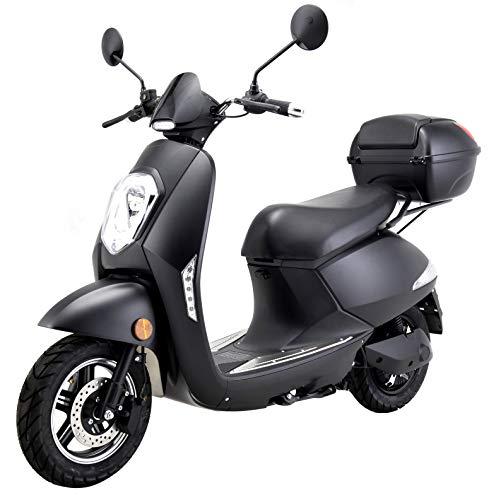 Elektroroller Elettrico, 1200 Watt, E-Motor, bis zu 60 km Reichweite, E-Roller mit Straßenzulassung, E-Scooter, Elektro-Roller, 25 km/h, Blei-Gel-Akku, Produktvideo, schwarz