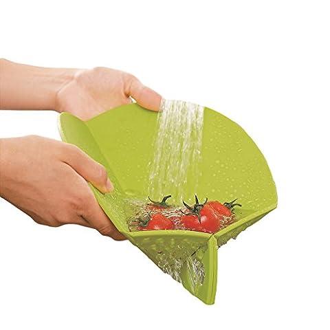 Ambrosya® | Faltbares Schneidebrett mit integriertem Sieb | Antibakteriell Auffangschale Biegsam Dünn Einklappbar Haushalt Klappbar Koch Küche Kunststoff Set | Geschenk Geschenkidee (27 cm,