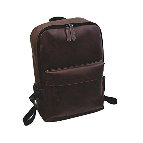 Beikoard Borsa da Viaggio per Zaino da Viaggio per Laptop e Zaino in Pelle da Uomo(Marrone)