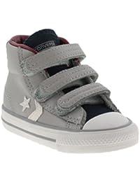 Bebé zapatos Converse ALL STAR, gris con pestaña azul y velcro de fijación 755169C