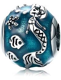 47570e1ad Abalorio de sirena azul de mar submarino 100% plata de ley 925 con diseño  de sirena