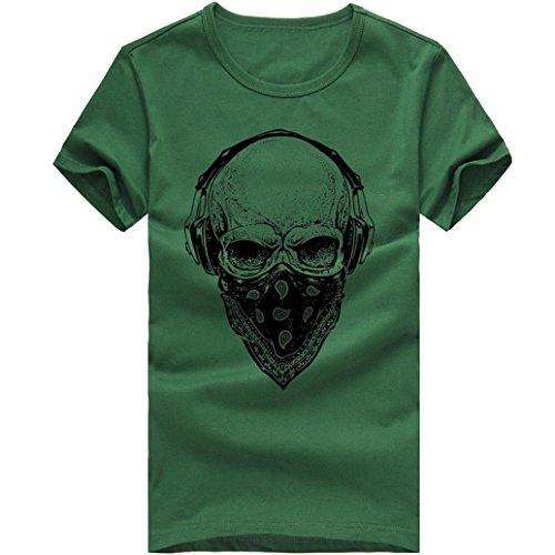 T-Shirts,Honestyi 2018 Frühling Sommer Herren T-Shirt Totenkopf Kapitän Captain Skull Bard Hipster Original Spirit Seemann Slim Fit Baumwolle Top Bluse Sweatshirts,Oversize S-XXXXL (XL, X-Grün)