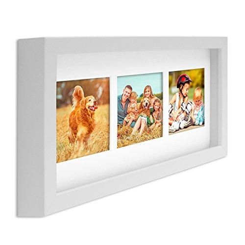 PHOTOLINI Fotocollage-Bilderrahmen Modern, Weiss, MDF-Objektrahmen, Bildergalerie-Rahmen Tief für 3 Bilder 10x15 cm, 3D-Rahmen mit Passepartout (Weißer Rahmen-foto-collage)