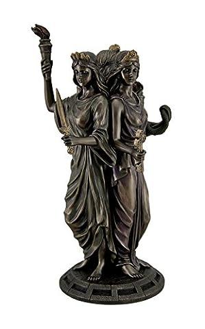 Grande Finition bronze grec Déesse Hécate Triple Déesse Statue Figurine
