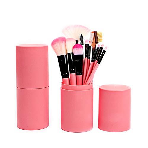 Set di pennelli da trucco professionali con custodia per fondotinta ombretto eyeliner labbra colore rosa 12 pezzi