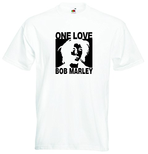 T-Shirt Herren Weiss - One Love - Bob Marley - XXL