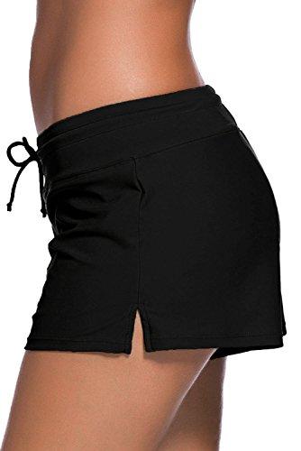 SheShy Maillot de bain femme Tankini Sport Side Split Plus Size Short Shorts Noir