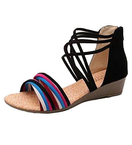 Minetom Damen Sommer Mode Boho Stil Sandals Keilabsatz Gladiator Schuhe Flache Ferse Offene Sandalen Schwarz02 EU 36 (Toe Strumpfhosen Sandal)