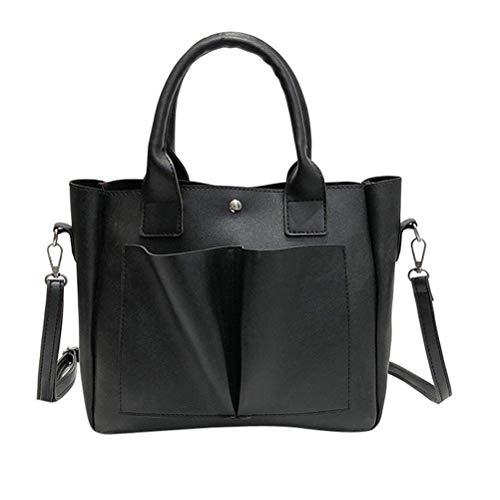 SoonerQuicker Retro Damen Henkeltaschen Leder-Schultertasche mit Tasche in Korsett-Tasche (schwarz)