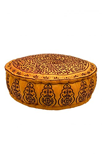 Orientalisches marokkanisches orient indisches rundes Sitzkissen Hocker Sitzhocker Pouf Sitzpouf bestickt Hamdija - XXL 75cm