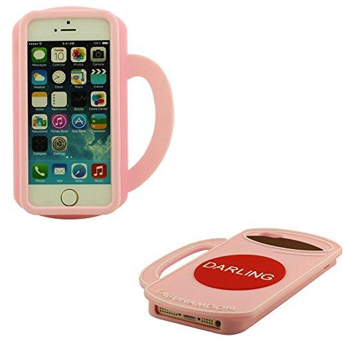 Custodia per iPhone 5 5S 5C 5G, Unico Tazza Modellazione Case Cover, Morbida Silicone Manicotto Protettivo Rosa