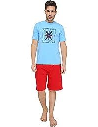Nightwear For Men - Night Suit - Tshirt & Shorts Combo Set - Sinker Material - Blue Color - Half Sleeves - Branded... - B078Y31CQP