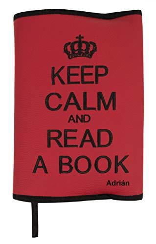 Custodia protettiva o copertina per libri PERSONALIZZATA con i INIZIALI. Keep Calm. Vari coloroi disponibili (Rosso/Nero)