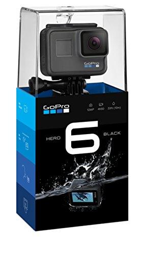 GoPro Hero6 Black - Videocámara de Acción (4K, 12 MP, Resistente y Sumergible hasta 10m sin Carcasa, Pantalla Táctil 2