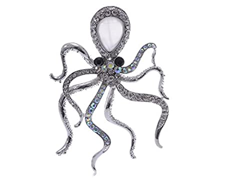 Graceful Aurora Borealis Crystal Rhinestone Octopus Costume Jewelry Pin