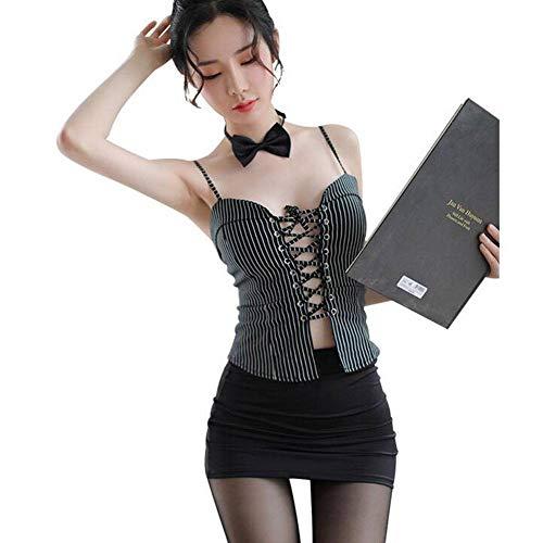 QWE Interessante Unterwäsche Sexy Secretarial Suit Cross -Strap Elastic Button Skirt Attraktive Passionate Suit -