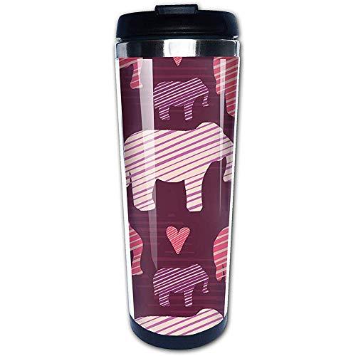 Taza de viaje y camping de acero inoxidable con aislamiento de silueta de elefantes bebés morados y rosados   para café y té con tapa a prueba de salpicaduras