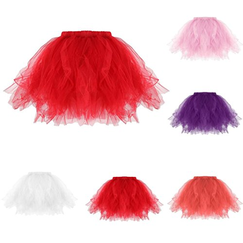 KaloryWee Womens High Quality Pleated Tutu Adult Tutu Skirt Pleated Mini Skirts (rot) (Stretch-cord Graue)
