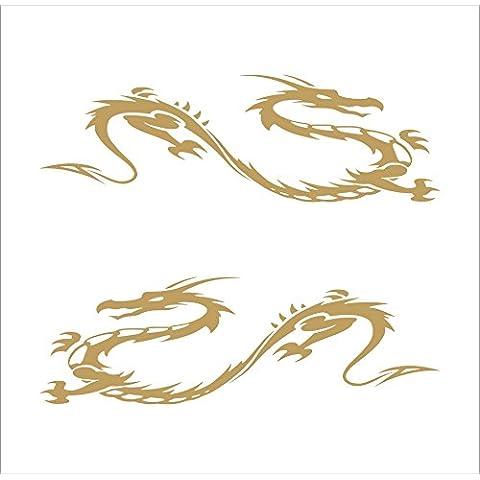 3105__G Pegatina para el coche dragones tribales ( Gold)
