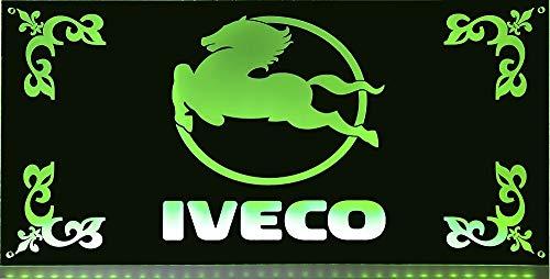 IVECO LED-Leuchtschild 60x30cm ✓ Ideale Geschenkidee ✓ LED-Beleuchtung ✓ Lasergraviert | Edles LED-Schild als Truck-Accessoire | Beleuchtetes IVECO Logo-Schild für den 24Volt-Anschluss | Ideales LKW-Zubehör für Trucker in verschiedenen Farben