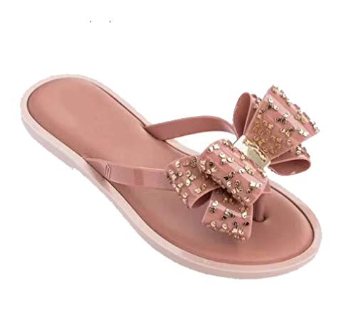Frauen Bowtie Flip Flops Jelly Slide Sandalen Slip on Clip Toe Hausschuhe Anti-Rutsch-leichte Sommer Strandschuhe -