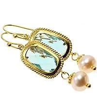 Ohrringe Ohrhänger Süßwasserperlen vergoldet Geschenk Perlenohrringe Perlenohrhänger Geschenk zu Weihnachten Weihnachtsgeschenk Kristall