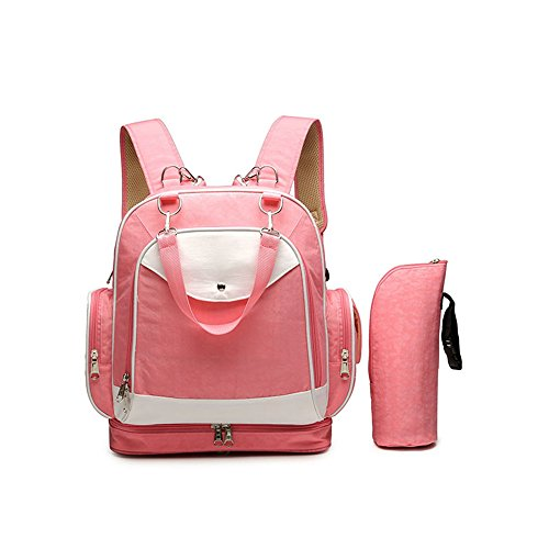 Wickeltasche Rucksack Fashion Multi-Funktions-Schulter-Mamabeutel Diagonal Mobile Baby Outing Rucksack, Rosa