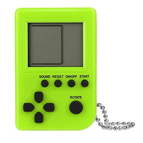 Console de Jeu Portable Built-in JeuxGameboy Mini Cadeaux d'anniversaire Enfants Noël Retro Tetris Zero Ecran Classic Machines de Loisirs Pendentif Etudiants Porte-clés Pas Cher (Verde)