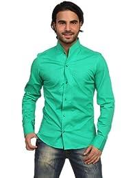 ReRock - Camisa casual - Básico - cuello mao - Manga Larga - para hombre
