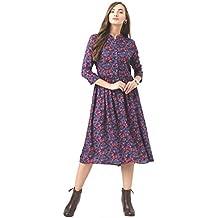 Marie Claire Women Blue Floral Print Fit & Flare Dress (MC59)
