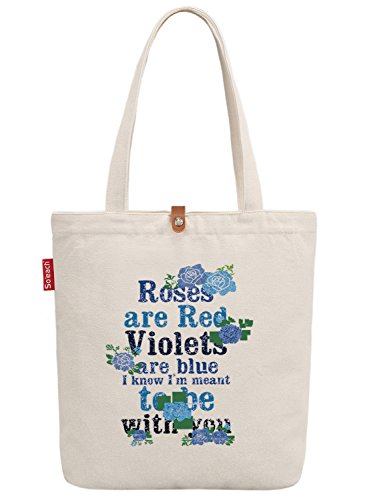 So'each Women's Rose Are Red Floral Graphic Canvas Tote Shopper Shopping Bag (Tiger Bag Canvas Tote)
