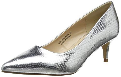 Lost Ink Damen Cayla Simple Kitten Heel Court Shoe Pumps Silver 0094, 38 EU