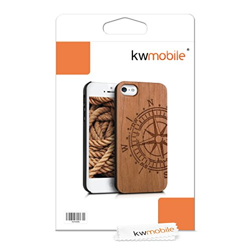 kwmobile Hülle für Apple iPhone SE / 5 / 5S - Case Handy Schutzhülle Kirschholz auf Kunststoff - Hardcase Cover Kompass Design Hellbraun Kompass Hellbraun
