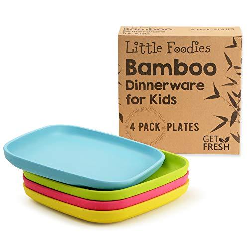 GO FRESH Bambus Kinderteller 4 Stück, Bambus Kindergeschirr, umweltfreundliches Kinder Geschirr Set, BPA frei (mehrere Farben), Kinder Bambusteller für eine gesunde Ernährung