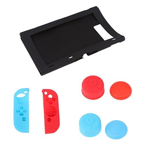 Preisvergleich Produktbild Gazechimp 7In1 Silikon Gehäuse Schutzhülle Abdeckung Thumbstick Kappen für Nintendo Switch Joy-Con - Schwarz