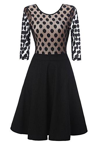 Gigileer Vintage Damen Kleider Pin Dots Swing Dress 1/2 Arm Knielang festlich Party schwarz XL