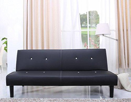NEG Design Schlafsofa HELIOS (schwarz/weiß) mit Napalon-Leder-Bezug Klappsofa, 3-Sitzer, Liegefläche 179x108cm, sehr bequem - 2