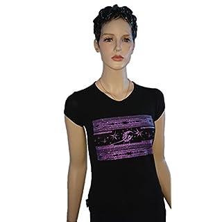 Srazda - Tee-shirt noir - Femme - col v - Coupe cintrée ajustée - Manches courtes - Dessin étoiles pailleté mauve