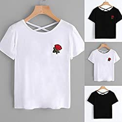 Women Summer Shirt Vest ,Wawer Ladies Girls Fashion Appliques Rose Tops,Casual Embroidered Short Sleeve Halter Blouse for Dance/Club/Party/Daily by Wawer