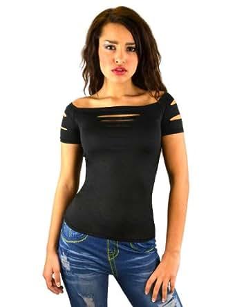 Sexy t shirt moulant pour femme noir et d chir l 39 avant couleur noir - Tee shirt sexy ...