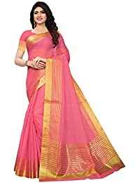 Kanchnar Women's Cotton Silk Gold stripes Kota Doria Saree