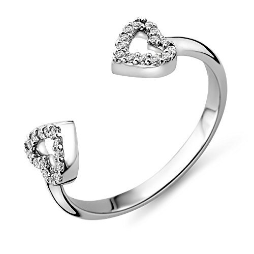 Miore–in argento sterling (925) designer anello a forma di cuore con zirconi taglio brillante, argento, 52 (16.6), colore: argento, cod. msae149r2