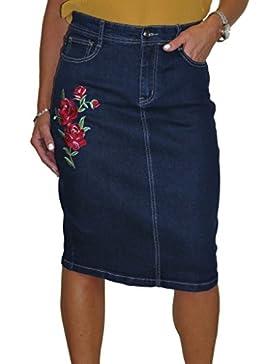 ICE Falda Jeans Stretch, Azul índigo