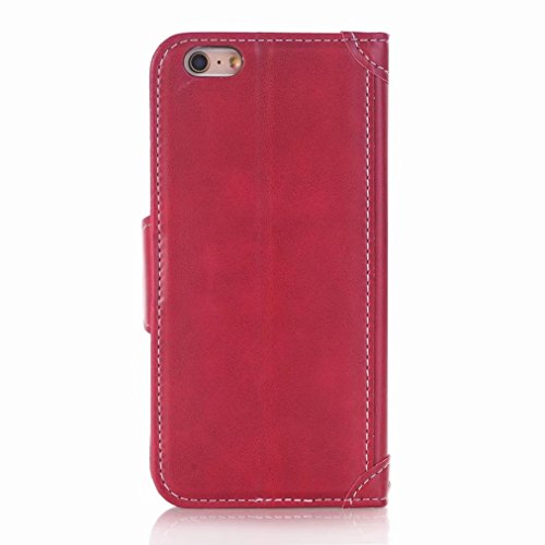 Yiizy handyhülle Apple IPhone 6 Plus / 6s Plus hülle, Geschäft Tasche Leder Schutzhülle PU Ledertasche Bumper Schutz Flip Cover Case Magnet Beutel Klappe Silikon Gummi huelle Schale Stehen Kartenhalte Rot