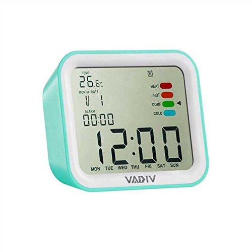VADIV Digital Wecker, CL07 Mini Größe Stürzen zum Alarmstop Hintergrundbeleuchtung Display Temperatur mit Komfortanzeige, Snooze, Datum, Kalender, für Kinder, Teenager, Reise - Grün