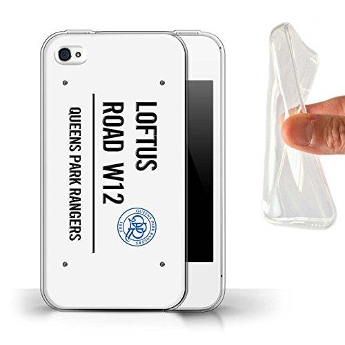 Offiziell Queens Park Rangers FC Hülle / Gel TPU Case für Apple iPhone 4/4S / Weiß/Rosa Muster / QPR Loftus Road Zeichen Kollektion Weiß/Schwarz