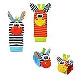 Daaimi 4pcs Baby Toy cinturino cute Animal Donkey morbido peluche cinturino calzini giocattoli sonaglio con anello Bell for Kid Gift 0-6mesi Baby